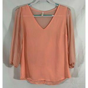 Glow shirt pink sheer open back size M